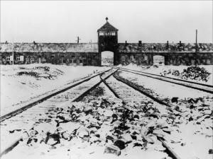 A picture taken in January 1945 depicts Auschwitz concentration camp gate and railways after its liberation by Soviet troops. // Photo prise en janvier 1945 montrant la grille d'entrée et les rails du camp de concentration d'Auschwitz après sa libération par les troupes soviétiques.