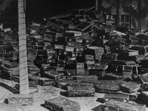2350346 Poland, Osventsim . 03/01/1942 The Second World War (1939-1945). Poland, Auschwitz, 1942. The suitcases featuring markings from all European countries were burned in the death camps' ovens. Reproduction. Judin/RIA Novosti